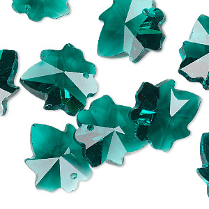 drop, glass, green, 16mm hand-cut faceted leaf. sold per pkg of 10.