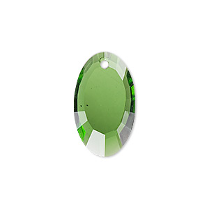 drop, glass, green, 22x13mm double-sided faceted oval. sold per pkg of 2.