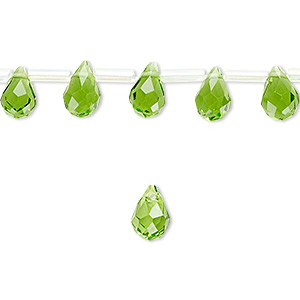drop, glass, medium green, 9x6mm faceted teardrop. sold per pkg of 50 drops.