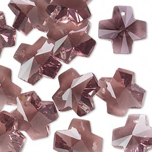 drop, glass, purple, 14x14mm faceted cross. sold per pkg of 16.