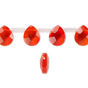 drop, glass, red-orange, 10x8mm faceted puffed teardrop. sold per pkg of 40 drops.