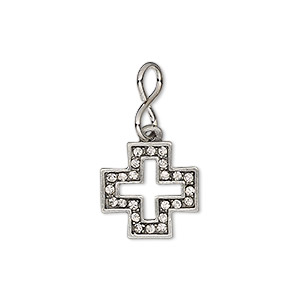 drop, glass rhinestone / imitation rhodium-plated brass / antiqued pewter (zinc-based alloy), clear, 14mm single-sided open cross. sold individually.