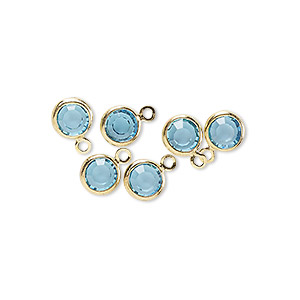 drop, glass rhinestone and gold-finished brass, aqua blue, 6-6.5mm faceted round. sold per pkg of 6.