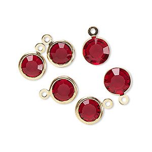 drop, glass rhinestone and gold-finished brass, garnet red, 8-9mm faceted round. sold per pkg of 6.