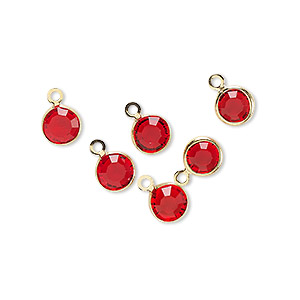 drop, glass rhinestone and gold-finished brass, ruby red, 6-6.5mm faceted round. sold per pkg of 6.