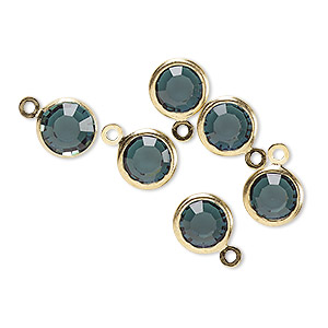 drop, glass rhinestone and gold-finished brass, zircon blue, 8-9mm faceted round. sold per pkg of 6.