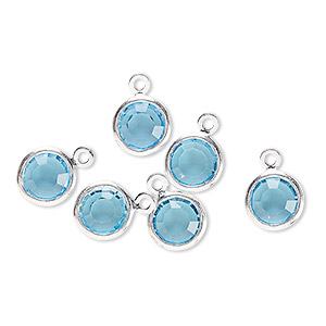 drop, glass rhinestone and silver-finished brass, aqua blue, 8-9mm faceted round. sold per pkg of 6.