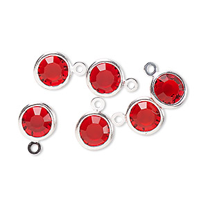 drop, glass rhinestone and silver-finished brass, ruby red, 8-9mm faceted round. sold per pkg of 6.