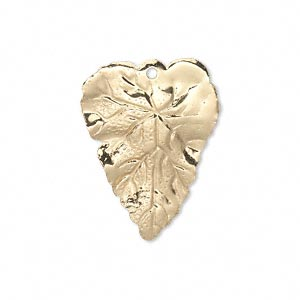 drop, gold-finished brass, 26x20mm double-sided leaf. sold per pkg of 6.