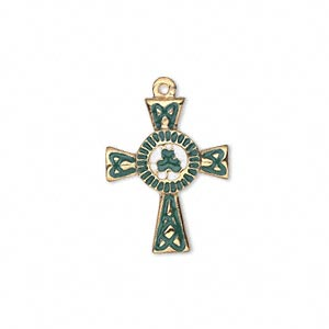 drop, gold-finished pewter (zinc-based alloy) and enamel, green and white, 21x17mm single-sided celtic cross with 3-leaf clover. sold individually.