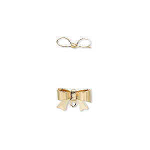 drop, gold-plated brass, 10x7mm bow with loop. sold per pkg of 10.