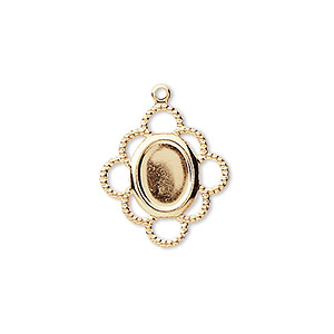 drop, gold-plated brass, 19x17mm with 8x6mm oval setting. sold per pkg of 100.