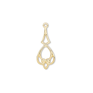 drop, gold-plated brass, 20x9mm heart with diamond. sold per pkg of 50.