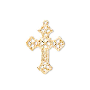 drop, gold-plated brass, 24x18mm filigree cross. sold per pkg of 50.