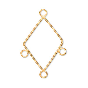 drop, gold-plated brass, 26x20mm diamond with 3 loops. sold per pkg of 10.