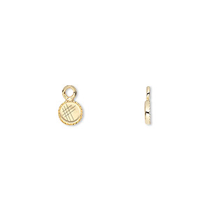 drop, gold-plated brass, 5mm round with beaded edge and 4mm round bezel setting. sold per pkg of 24.