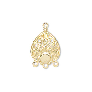 drop, gold-plated steel, 17x15mm filigree teardrop with 4mm round setting, 3 loops. sold per pkg of 100.