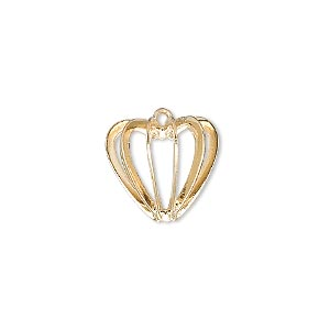 drop, gold-plated steel and brass, 14x14mm heart cage. sold per pkg of 4.