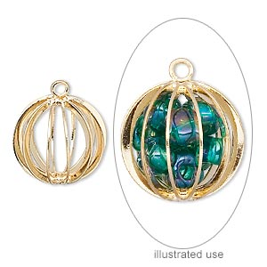 drop, gold-plated steel and brass, 15mm round cage. sold per pkg of 20.