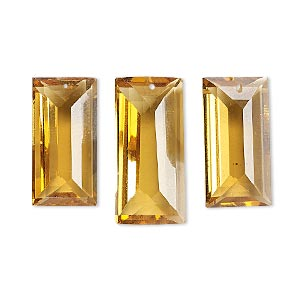 drop, golden quartz (heated), 14x7mm-19x10mm and 16x8mm-21x10mm hand-cut faceted baguette, b grade, mohs hardness 7. sold per 3-piece set.