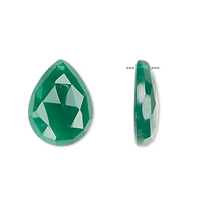 drop, green onyx (dyed), 20x15mm single-sided hand-cut faceted flat teardrop, b grade, mohs hardness 6-1/2 to 7. sold per pair.