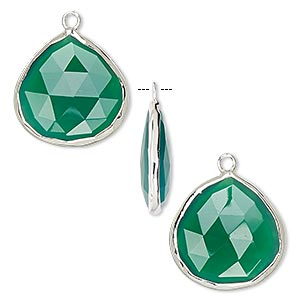 drop, green onyx (dyed) and sterling silver, 20x20mm double-sided faceted teardrop. sold per pkg of 2.