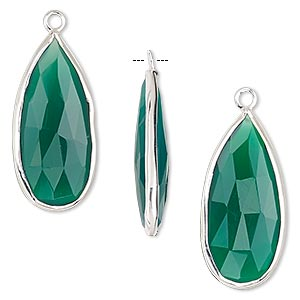 drop, green onyx (dyed) and sterling silver, 27x12mm double-sided faceted teardrop. sold per pkg of 2.