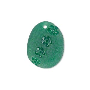 drop, green onyx (dyed), frosted, 23x18mm hand-carved flat oval with flower design, b+ grade, mohs hardness 6-1/2 to 7. sold individually.