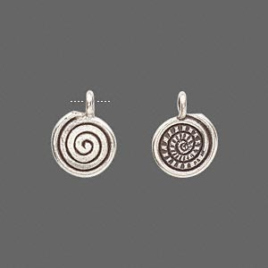 drop, hill tribes, antiqued fine silver, 11x10mm round spiral. sold per pkg of 2.