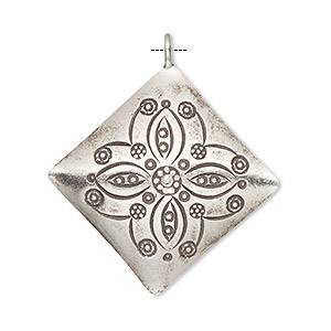 drop, hill tribes, antiqued fine silver, 29x29mm diamond with floral design. sold individually.