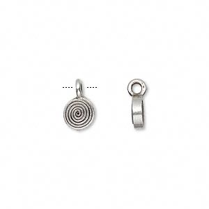 drop, hill tribes, antiqued fine silver, 6mm round. sold per pkg of 4.