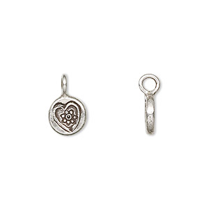 drop, hill tribes, antiqued fine silver, 8mm round with heart. sold individually.
