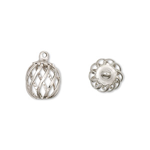 drop, imitation nickel-plated steel and brass, 11x9mm swirled oval cage. sold per pkg of 4.