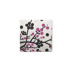 drop, imitation rhodium-finished carbon steel, black and pink, 20x20mm single-sided square with cherry blossom design. sold per pkg of 4.