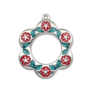 drop, imitation rhodium-finished pewter (zinc-based alloy) and enamel, dark green/red/white, 29x27mm single-sided flower with circle cutout with flowers and leaves. sold individually.