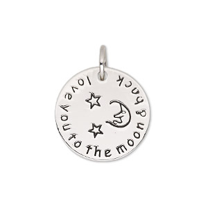 drop, imitation rhodium-plated pewter (zinc-based alloy), 20mm two-sided flat round with moon and star design with love you to the moon  back. sold individually.