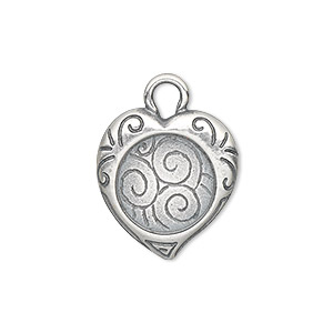 drop, jbb findings, antique silver-plated pewter (tin-based alloy), 20x19mm single-sided heart frame with swirl design and 13mm round setting. sold individually.