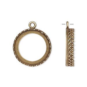 drop, jbb findings, antiqued brass, 19.5mm round with open back and decorative trim, 18mm round bezel setting. sold per pkg of 2.