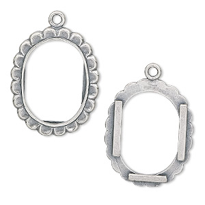 drop, jbb findings, antiqued sterling silver, 24x19mm oval picture frame. sold individually.