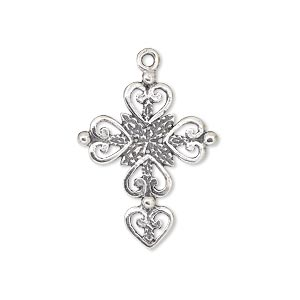 drop, jbb findings, antiqued sterling silver, 26x21mm single-sided cross with heart and leaf design. sold individually.
