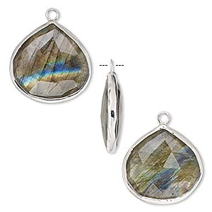 drop, labradorite (natural) and sterling silver, 20mm double-sided faceted teardrop. sold per pkg of 2.