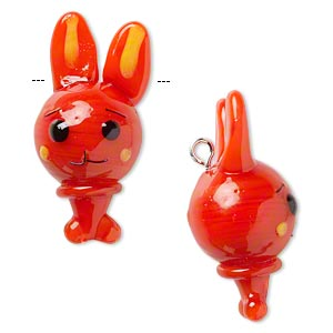 drop, lampworked glass and silver-finished brass, red-orange / black / yellow, 28x14mm bunny. sold individually.