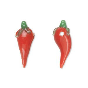 drop, lampworked glass, red and green, 23x6mm-25x8mm chili pepper with leaves. sold per pkg of 8.