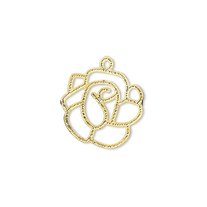 drop, lazer lace™, gold-finished brass, 17x17mm fancy rose. sold per pkg of 30.