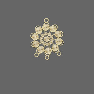 drop, lazer lace™, gold-finished brass, 22x18mm snowflake, 3 loops. sold per pkg of 30.