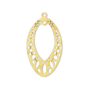 drop, lazer lace™, gold-finished brass, 29x18mm open marquise with loop. sold per pkg of 2.