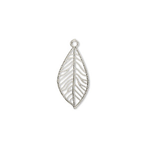 drop, lazer lace™, silver-plated brass, 18x9mm teardrop leaf. sold per pkg of 50.