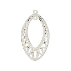 drop, lazer lace™, silver-plated brass, 29x18mm open marquise with loop. sold per pkg of 2.