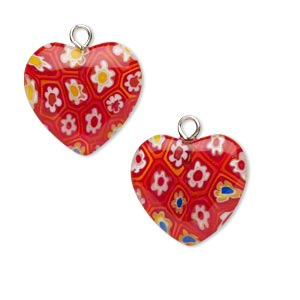drop, millefiori glass and silver-plated steel, red and multicolored, 17mm heart. sold per pkg of 10.