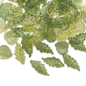 drop mix, acrylic, transparent light green / green / dark green, 15x15mm double-sided round leaf / 21x20mm double-sided oak leaf / 25x11mm double-sided long leaf. sold per 1/8 pound pkg, approximately 250 drops.